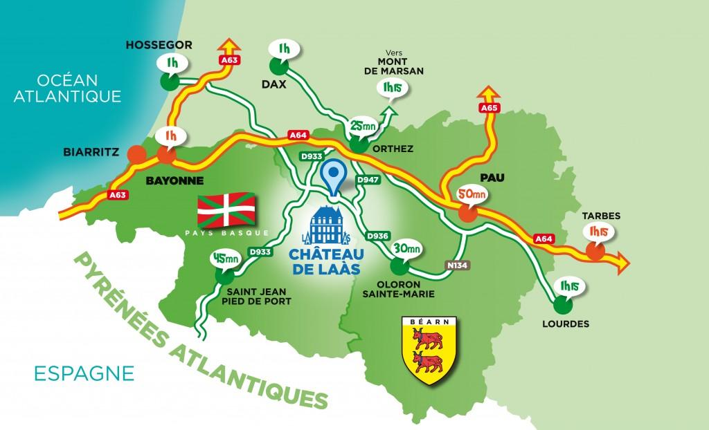 Plan d'accès aux cabanes du Château de Laàs (64)